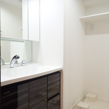 洗面台、脱衣所、洗濯機置場を兼ねています。