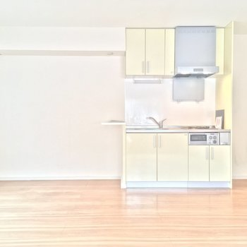 お次はキッチン方面へ、小さなカウンターが付いてますね