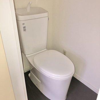 トイレは手洗い管付き。※写真は通電前・フラッシュを使用しています