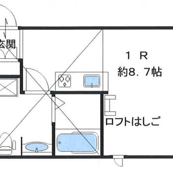 ロフト付きのコンパクトなお部屋。
