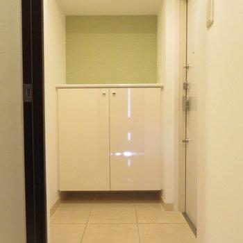玄関はかなり大きいですね(※写真は10階の同間取り別部屋のものです)