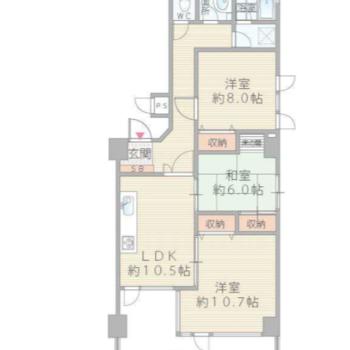 間取りは3LDK。どの居室もゆったり使えますよ。