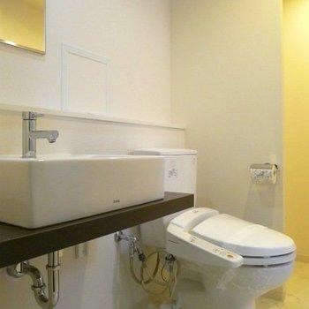 洗面台も統一されたデザインでお洒落です。 ※写真は別部屋