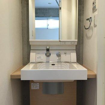 洗面台はコンパクト※写真は3階の同間取り別部屋のものです