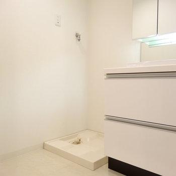 広めの脱衣所に洗濯機置き場。