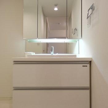 鏡張りが贅沢な洗面台