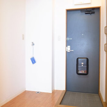 玄関の左となりに洗濯機を置けます。