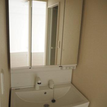 洗面台。鏡の中は収納です。※照明を付けずに撮影しています。