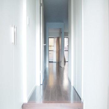 玄関からの眺め。おお〜白い。シューボックスもありますよ。