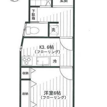 1Kだけれどお部屋は3つに分けられているんです。