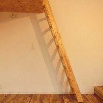 梯子を上がりロフト空間へ
