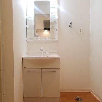 脱衣所。右手にトイレ、左手にお風呂。
