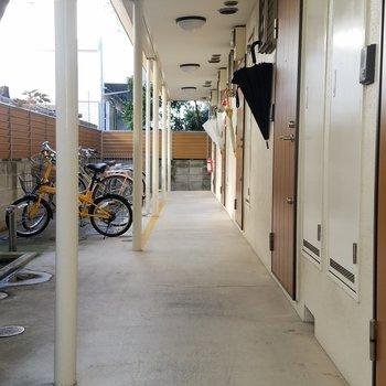 共有スペースに自転車が置けます!