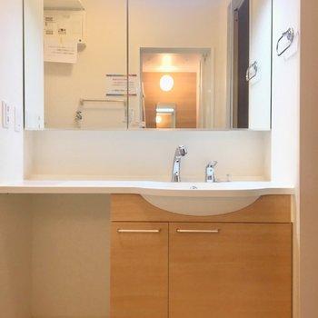 洗面台は鏡が大きくて台も広くていい感じ!