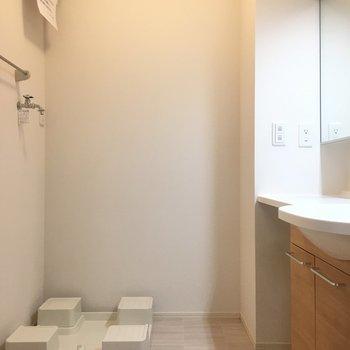 洗面台はこちら 左にお風呂がありますよ!