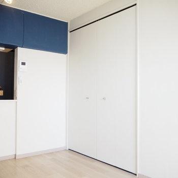 角度を変えて、こちらは白い壁と収納です。
