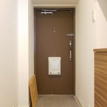 玄関は落ち着いたブラウン。