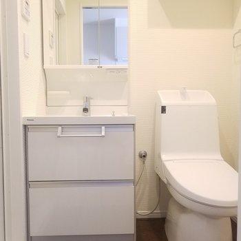 キッチンの向かい側に、洗面所とトイレ。