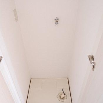 廊下の洗濯機置場は扉で隠せるように。
