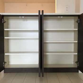 カウンター下の収納は食器を入れるのが良さそう。(※写真は5階の同間取りの別部屋のものです)