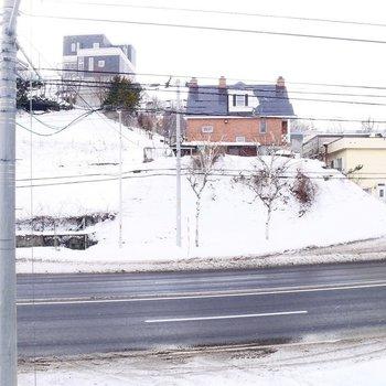 眺望は車通りのある道路が向かいに。
