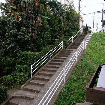 アパートの前には階段、