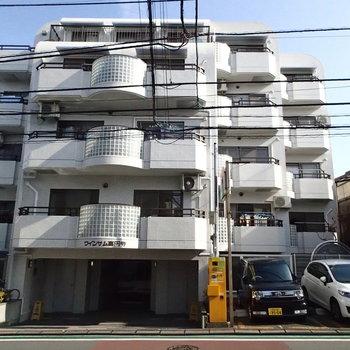 細めの路地のしっかりしたマンションです。