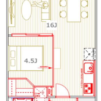ゆったりL字リビングのあるお部屋になりますよ。