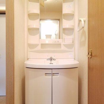 独立洗面台がトイレの横に。