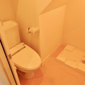 トイレに洗濯機置場があるタイプ。※写真はクリーニング前です。