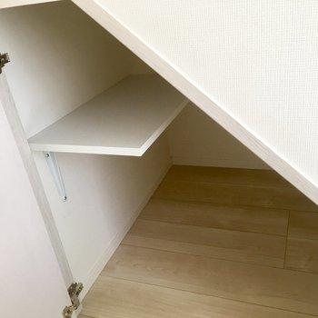 そのさらに右横には扉の付いた収納。ここに靴かな。