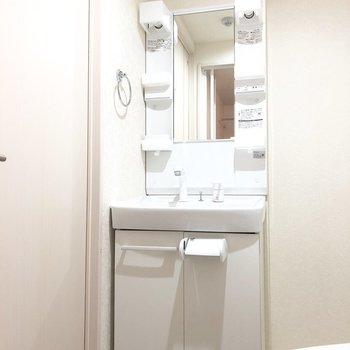 洗面台は歯ブラシホルダーが置けそうな部分もついていて機能性は◎※写真は3階の同間取り別部屋のものです