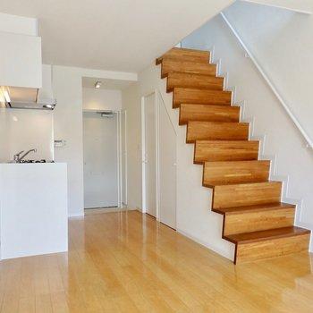 階段が空間のアクセントに。