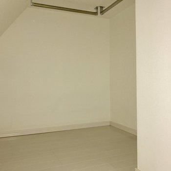 階段下に大きめの収納があります。(※写真は1階の同間取り別部屋のものです)