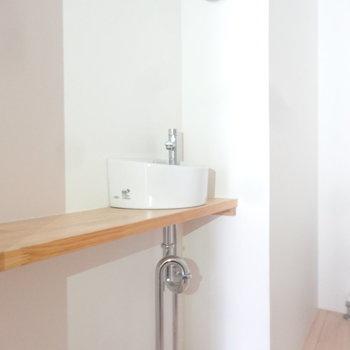 ちょこんと手洗い場もついていて広いトイレなんです。