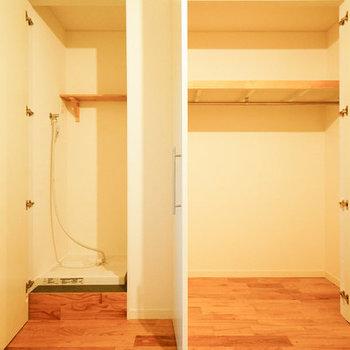 収納は大容量!左は洗濯機置き場に。※写真は反転の間取りのものを使用
