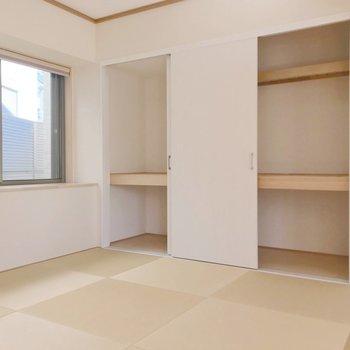 和室は琉球畳。お洒落だし、小さなお子さまの遊び場としても大活躍!