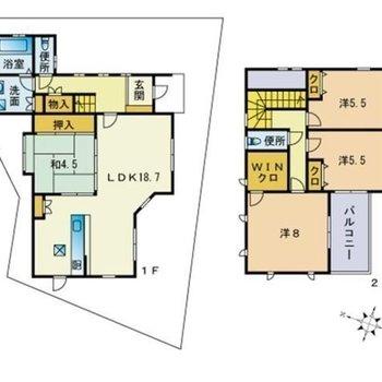 4〜5人で住みたい2階建て。お子さまそれぞれのお部屋が持てますね。