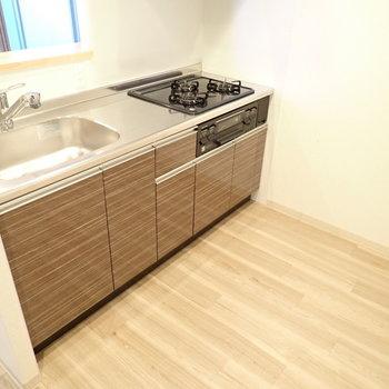 キッチンまわりはゆったりめ!収納も置けますよ。