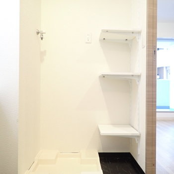 洗濯機と、洗剤やタオルを置けそうな場所が。
