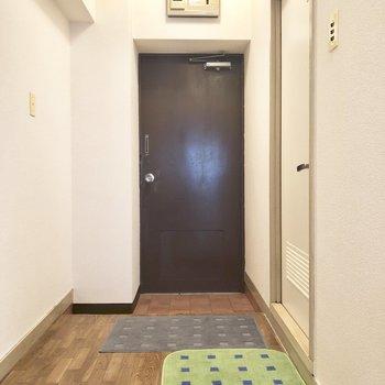 玄関スペースはゆったりしてます。(※敷物は見本です)