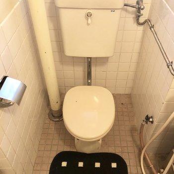 いや、3点ユニットでした。扉を開けた先にトイレがあります。(※敷物は見本です)