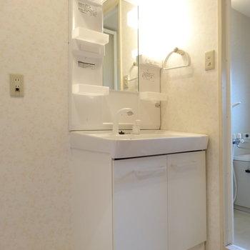 【現状】綺麗な独立洗面台は既存を利用!