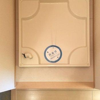 その横には洗濯機置き場。一段高くなっているのが嬉しい〜! ※写真は同間取り別部屋
