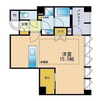 大きなワンルーム!贅沢な1人暮らしにいかがでしょう?