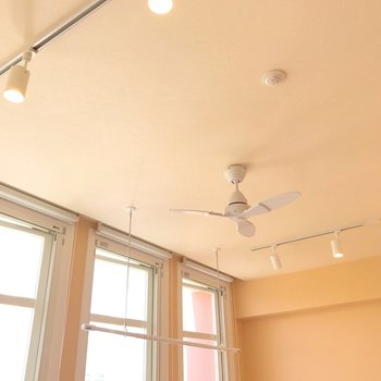 天井にはシーリングファンと部屋干しできるツールがあります。(※写真は4階の同間取り別部屋、清掃前のものです)