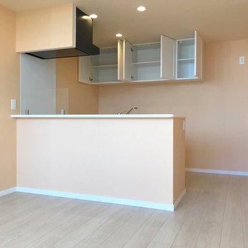 キッチン裏の吊戸棚には、食器がたくさん入ります。(※写真は4階の同間取り別部屋、清掃前のものです)