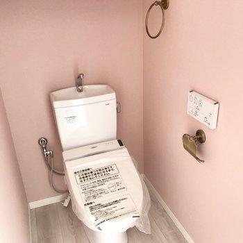 トイレはなんとピンク色!かわいい!