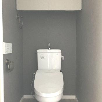 グレーカラーが大人っぽいトイレ。※写真は7階の同間取り別部屋です。