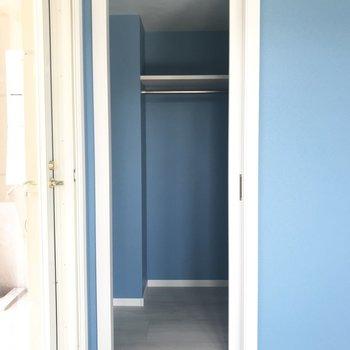 奥には広めのウォークインが!中まで青!(※写真は2階の同間取り別部屋のものです)